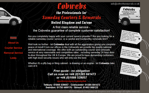 Cobwebs Same day Couriers and Removals